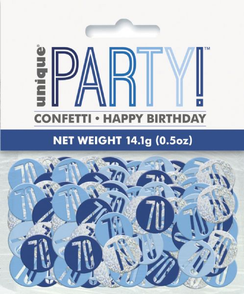 Glitz Blue Age 70 Table Confetti